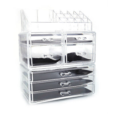 Cosmetic Table Organizer Makeup Holder Case Box Jewelry Storage 7 Drawer Clear