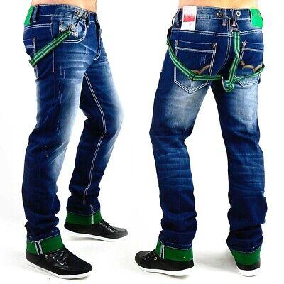 Neu Herren Jeans Hose Designer Destroyed Clubwear Hosenträger Träger Saum Plus