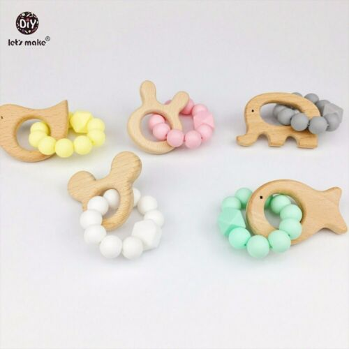 Baby Nursing Accessory Teething Baby Rattle Sensory Beech Wood Animal Chew Toy