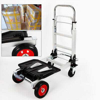 Hand Truck Dolly Convertible Aluminum Heavy Duty Folding Utility Cart 200kg