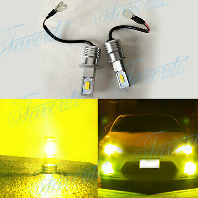 H3 LED Fog Lights Conversion Bulbs Kit 60W 8000LM 3000K Yellow Plug And Play