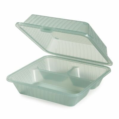 G.e.t. 3 Compartment Jade Polypropylene Eco-takeout Container - 9l X 9w X 3