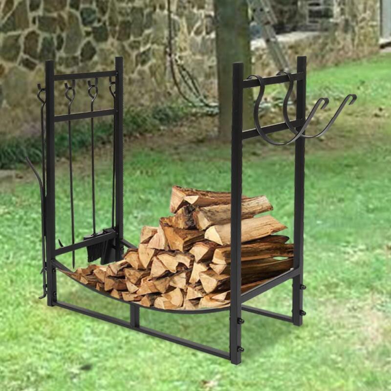 "36"" Indoor/Outdoor Firewood Log Rack - Steel Fireplace Storage Holder with Tools"