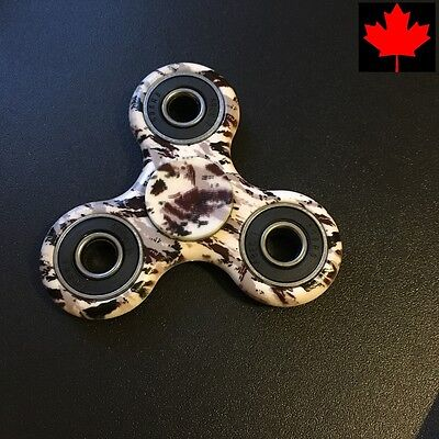 "Fidget Tri Spinner EDC Stress Relief Focus Fun Toy - ""Black & White Camo"""