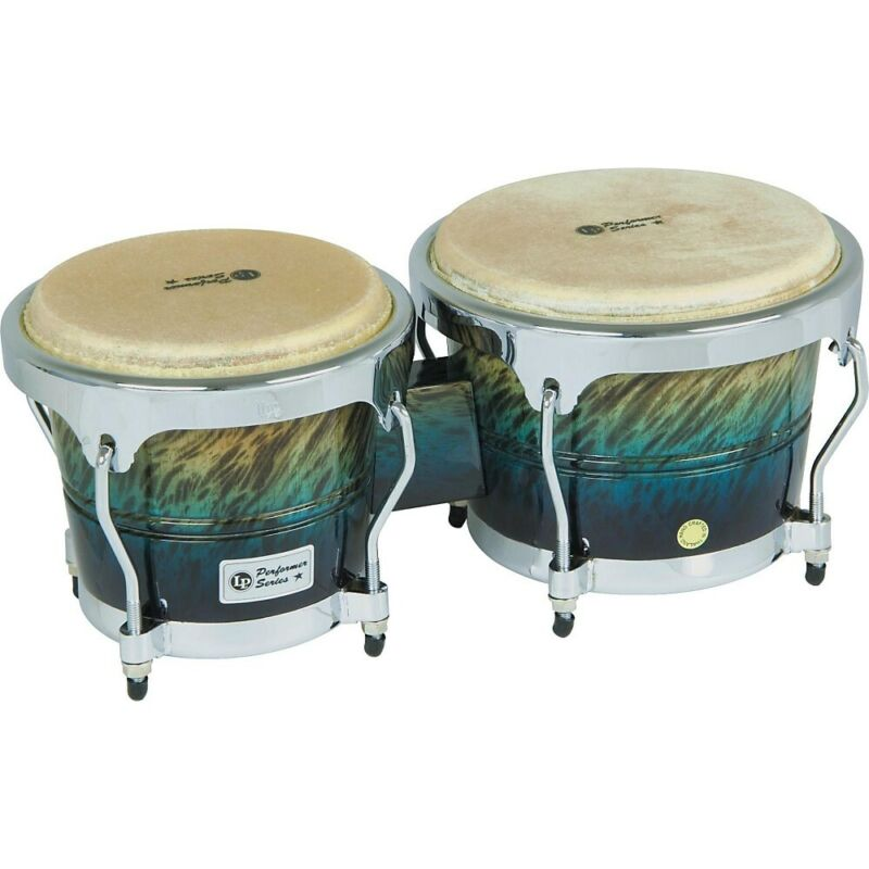 LP Performer Series Bongos with Chrome Hardware Blue Fade
