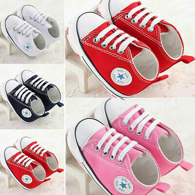 Newborn Baby Girl Boys Canvas Crib Shoes Soft Sole Prewalkers Anti-slip Sneakers