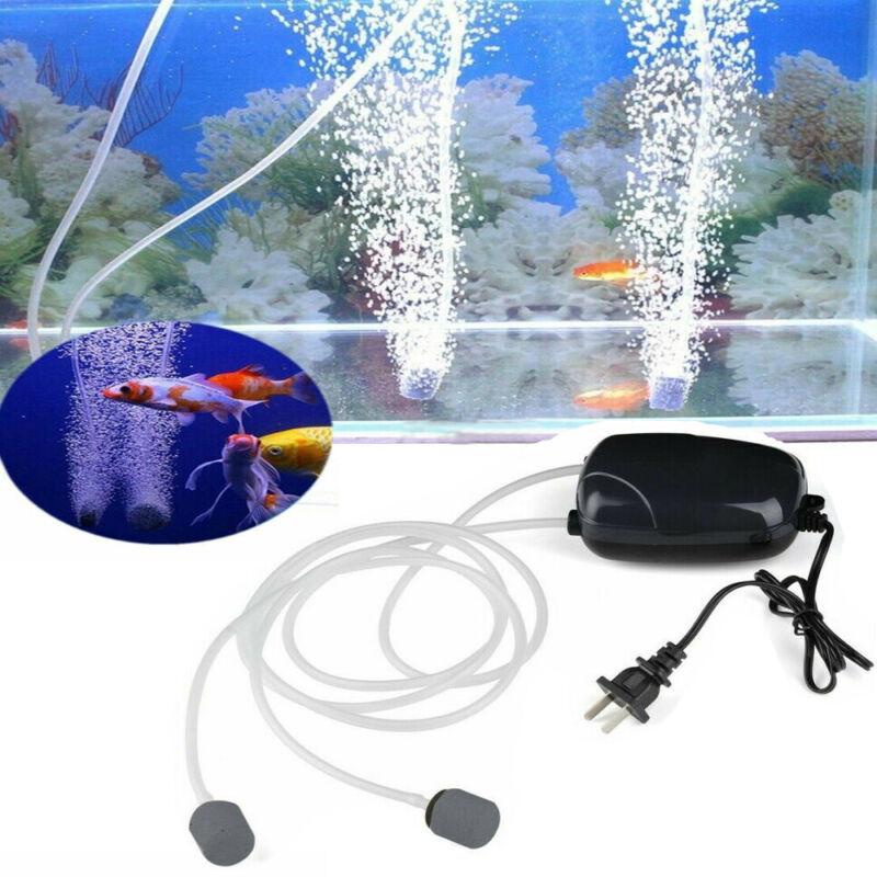 Aquarium Fish Tank 2 Air Bubble Disk Stones Aerator Pond Pump Hydroponic Oxygen