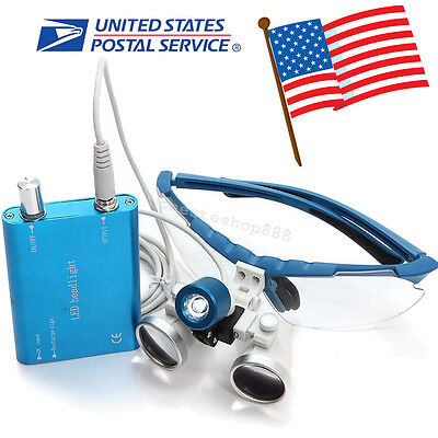 Blue Dental Surgical Binocular Loupes 3.5x 420mm Optical Glass Head Light Lamp