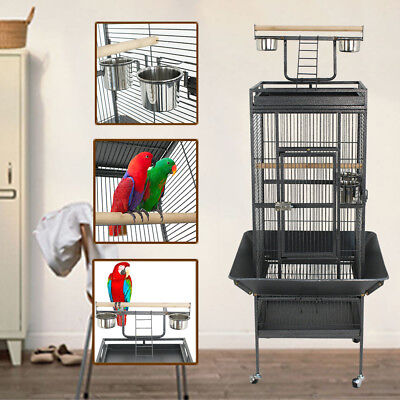 "61"" Large Bird Cage Pet Play Top Parrot Parakeet Bird Finch w/ Perch Stand Steel"