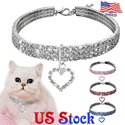 Pet Accessories Puppy Crystal Kitten Cat Necklace Collar Dog Charm Pendant US