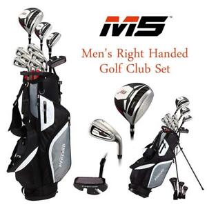 NEW Top Line Mens Right Handed M5 Golf Club Set, Set Includes Driver, Wood, Hybrid, 5, 6, 7, 8, 9, PW Stainless Stee...