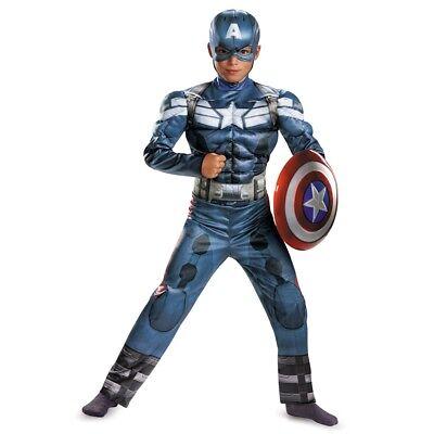 Jungen Captain America Film 2 Klassisch Muskelkostüm Neu - Captain America Film Kostüm