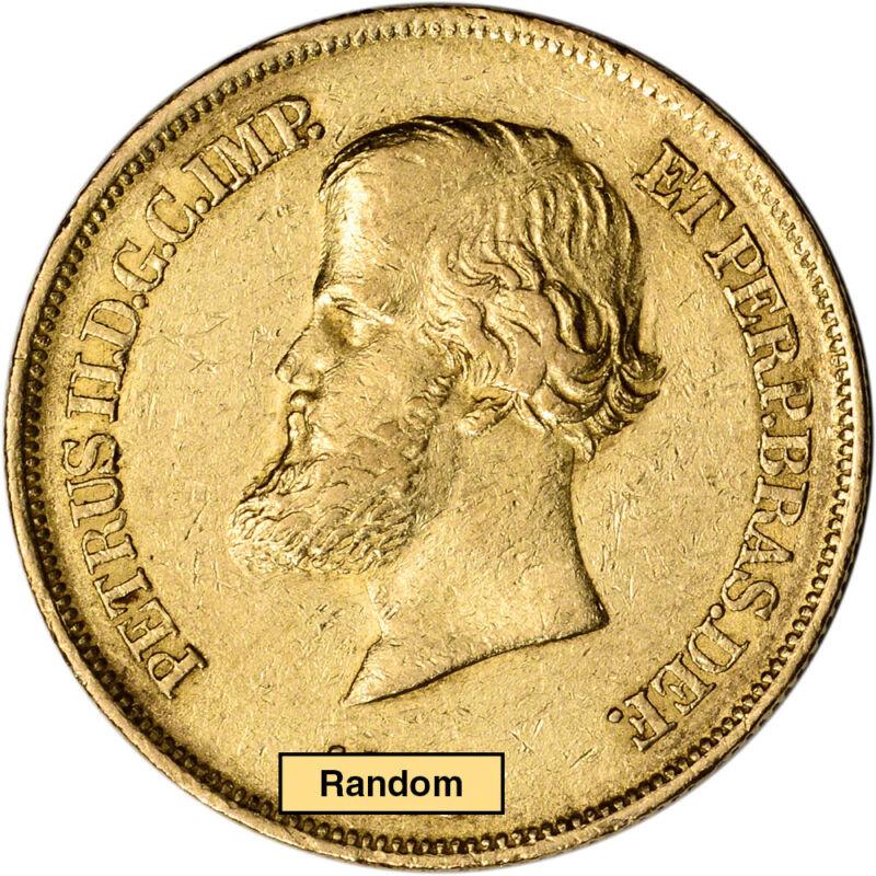 Brazil Gold 10000 Reis .2643 oz Pedro II - Average Circulated Random Date