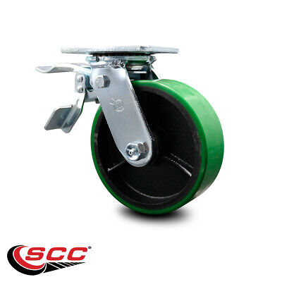 6 Poly On Cast Iron Caster - Swivel Wtotal Lock Brake - Scc