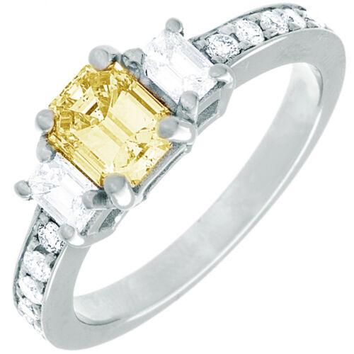 Diamond Engagement Ring GIA Certified Fancy Yellow Emerald Cut 18k Gold 2.31 CT