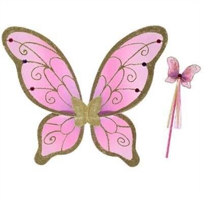 Travis Girls Cerise/gold Wings And Wand Fairy Set 3 + Years - Dress Fancy