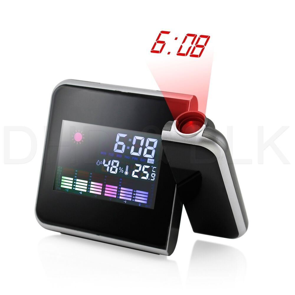 Projection Digital Weather Lcd Snooze Alarm Clock Color
