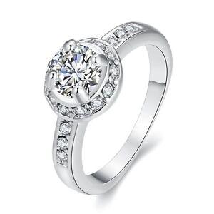 Placcato-Oro-Bianco-Tonda-Zircone-Sposa-anello-medio-17-5-mm-misura-O-FR256