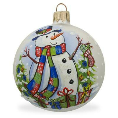 Snowman, Christmas Tree and Gifts Glass Ball Ornament 3.25 Inches ()
