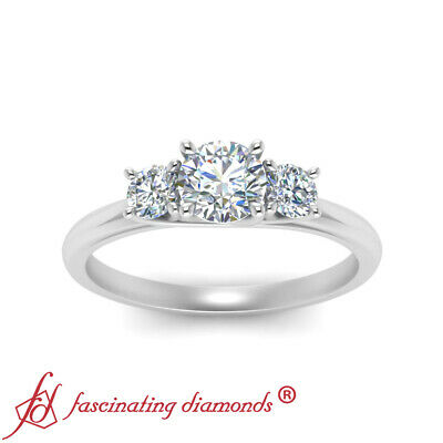 White Gold 3 Stone Round Cut Diamond Trellis Engagement Ring For Women 0.90 Ctw 2