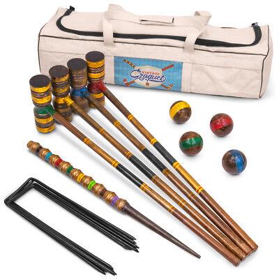 Vintage Wood Premium Croquet Set | 4-player Outdoor Backyard