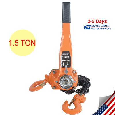 Chain Lever Block Hoist Come Along Ratchet Lift 1.5ton 3000lb Capacity From Usa