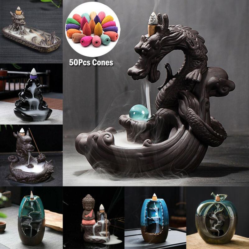 Ceramic Waterfall Backflow Dragon Incense Burner Smoke Censer Home Decor 60 Cone