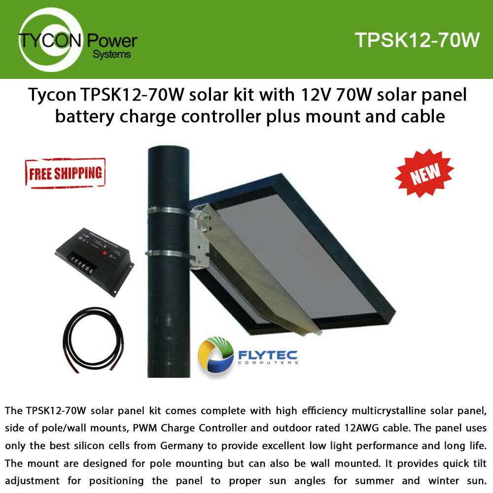 Tycon TPSK12-70W solar kit 12V 70W panel w/ mount cable and charge controller