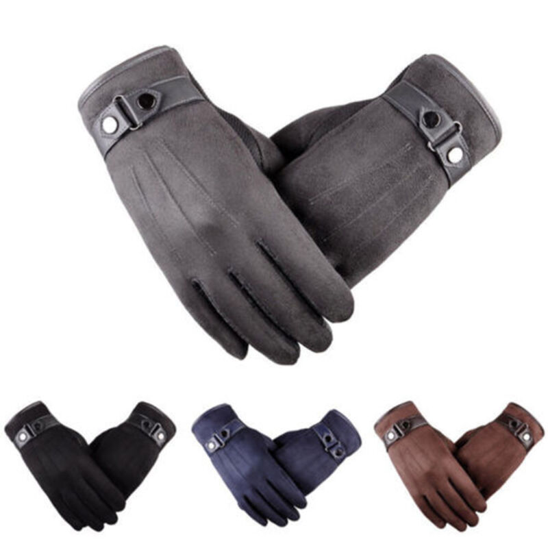 Men S Winter Warm Suede Leather Fleece Lined Thermal Touch