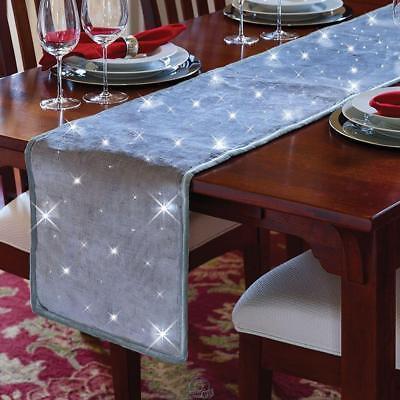 Cordless Twinkling Table Runner 8 White LEDs 72
