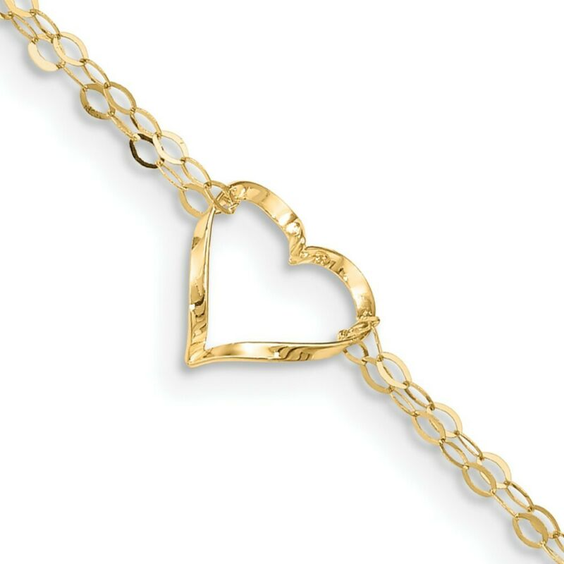 14k Yellow Gold Double Strand Heart 1 Adjustable Chain Plus Size Extender
