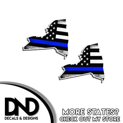 New York HELMET Decal Police Blue Line Tattered American Flag Sticker 4 Pack