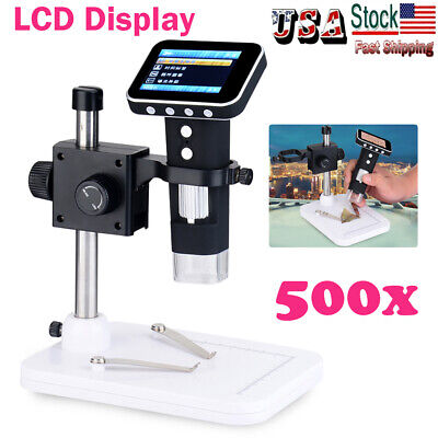 500x 4.3 Lcd Screen Digital Electronic Microscope Magnifier Zoom Camera 8 Led