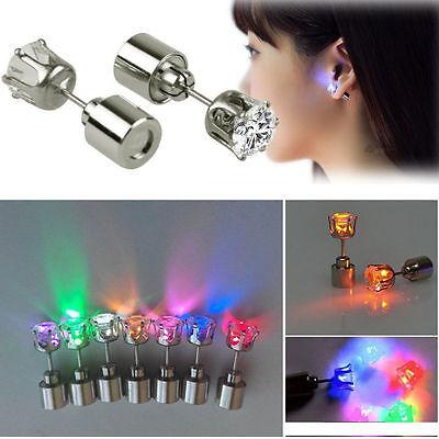 2PCS  Shiny Hoop Light Up LED Bling Ear Studs Earrings Dance Party Accessories - Light Up Earrings