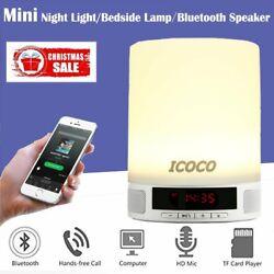 Bluetooth Speaker Touch Sensor Bedside Lamp Night Light LED Alarm Wake Up RGB US