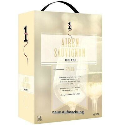 No.1 Airen Sauvignon Spanischer Weißwein 3L Bag in Box BiB 12% vol (RABATT)