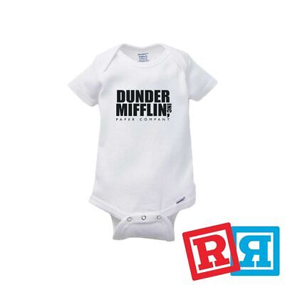 Dunder Mifflin Baby Onesie The Office Bodysuit Unisex Gerber Organic Cotton