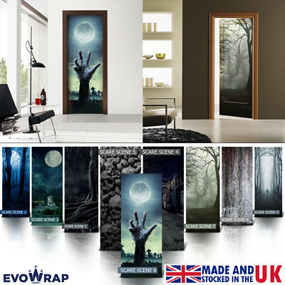 Self-Adhesive Scary Halloween Scene Door Wrap & Fridge Mural Sticker Decal](Halloween Scary Scene)