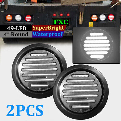 2X 4 Inch Round 49-LED Truck Trailer Tail Light Reverse Backup Lamp Clear White