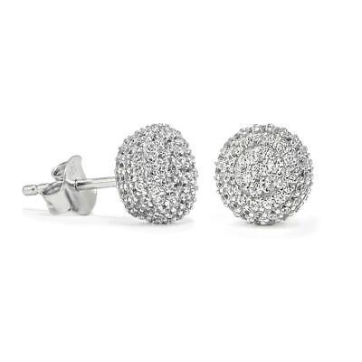Men Women 14K White Gold Over Sterling Silver Diamond Micro Pave Stud Earrings  ()