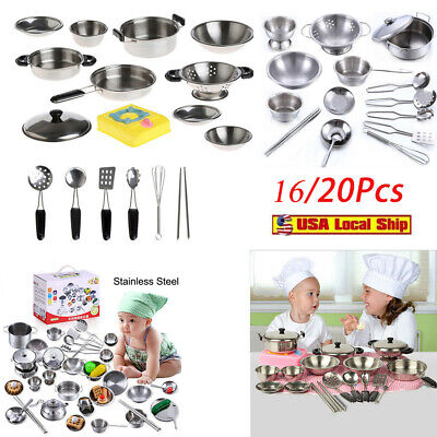 20Pcs Stainless Steel Cookware  Miniature Toy Pretend Play Best Gift For (Best Stainless Steel Cookware)