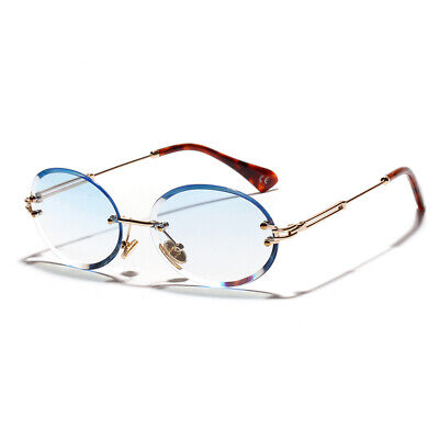 Vintage Gold Rimless Baby Blue Tint Round Diamond Cut Old School Mens Sunglasses