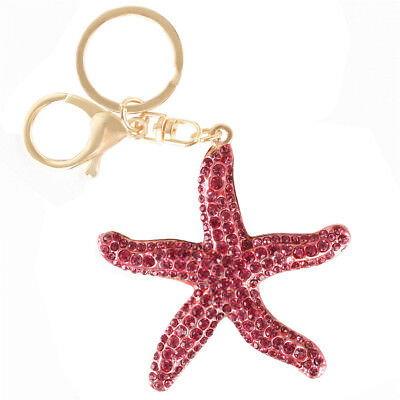 - Starfish Five Asteroid Fish Rhinestone Crystal Purse Bag Key Chain Lover's Gift