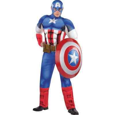 Captain America Muskel Erwachsene Kostüm Standardgröße Marvel Comics Neu (Captain America Erwachsene Kostüme)
