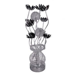 Modern Aluminium Silver and Black Flower Design Table Lamp Floral Lighting Home