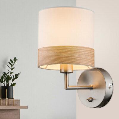 Lujo LED Luz de Pared Salón Habitación Madera Pantalla Iluminación Tela Lámpara