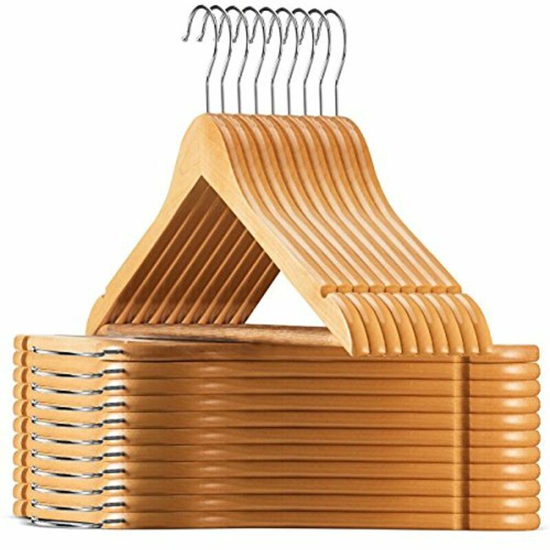 High-Grade Wooden Suit Hangers (30 Pack) Solid Wood Coat Hanger W/ Cut Notches