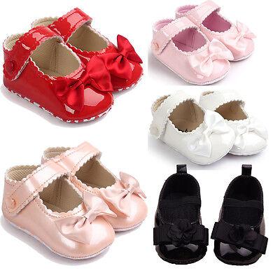 Toddler Baby Girl Crib Shoes Newborn Prewalker Bowknot Non-slip Kids Soft Sole