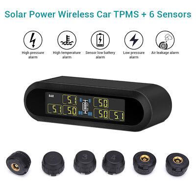 Solar Power LCD TPMS Tire Pressure Monitor System + 6 External Sensor For Van RV