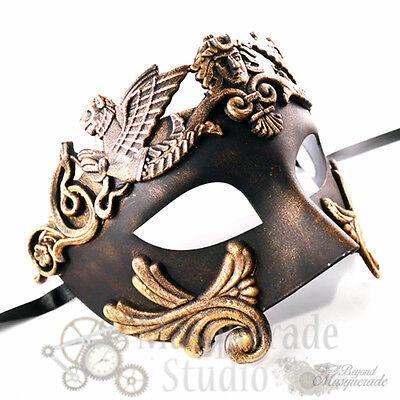 Mens Greek Roman Warrior Venetian Costume Theatre Masquerade Ball Mask [Gold]](Mens Masquerade Ball Costume)